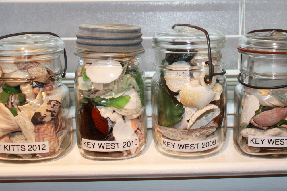 Seaside Memory Jars on the Bedroom Window Sill