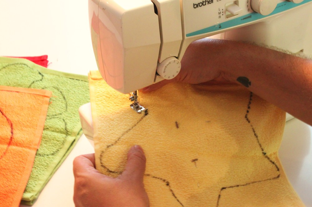 Sew Along the Black Line with colored Thread