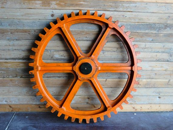 Vintage Orange Industrial Gear on Etsy