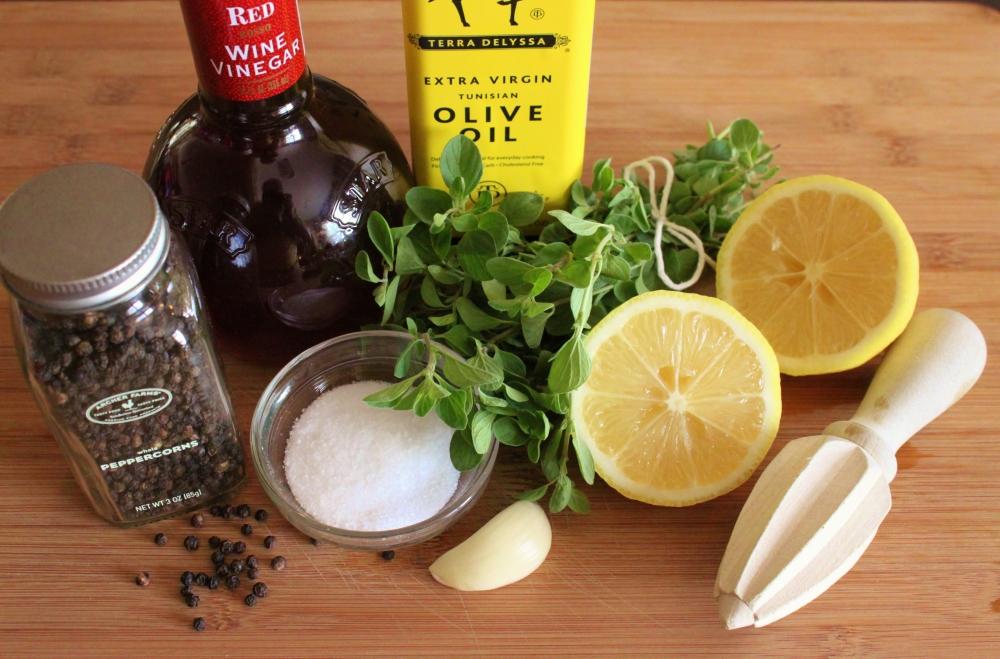 All the Vinagerette Ingredients for Mediterranean Salad