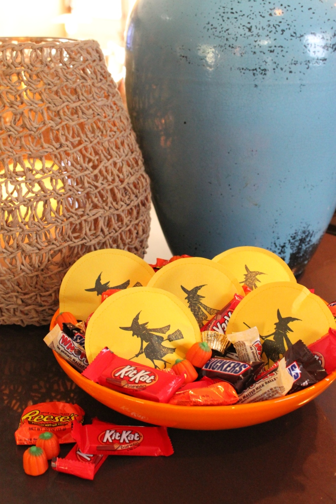 Bowl of Candy and Witch Treats on the Counter