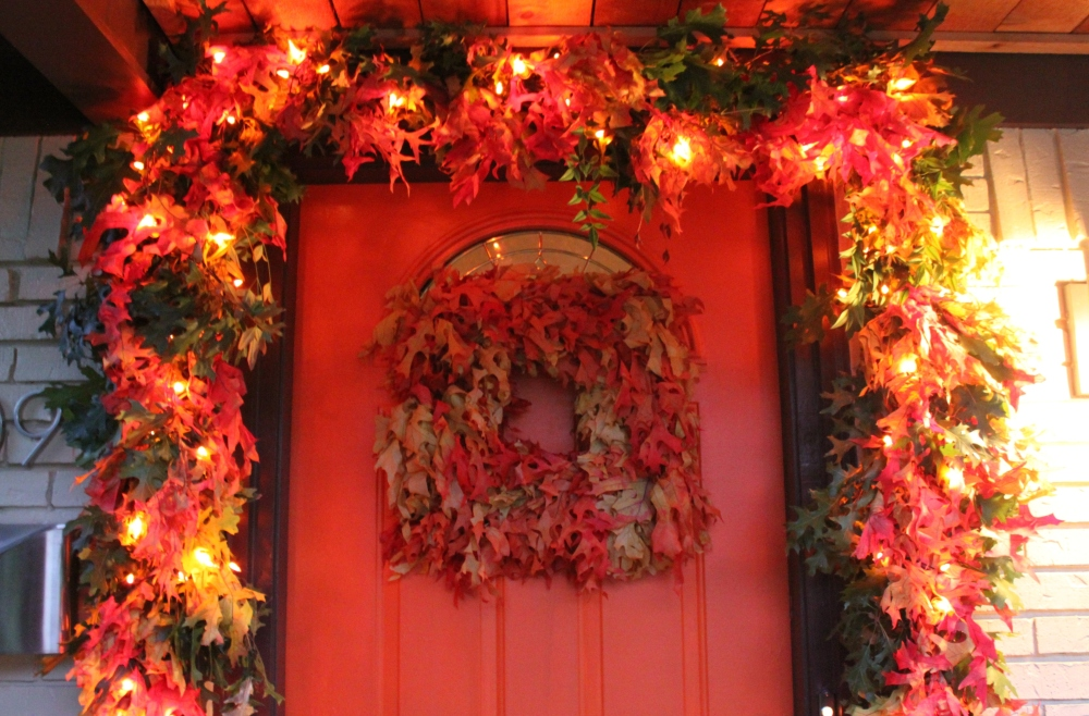 Close Up of the Cavender Front Door with Leaf Garland