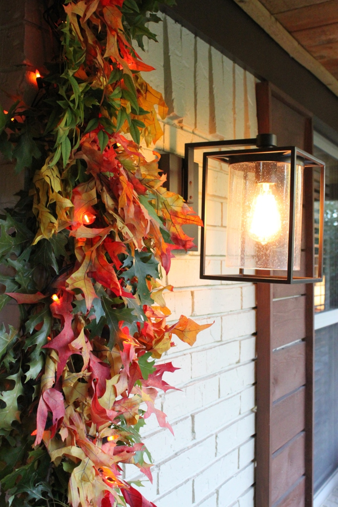 Fall Leaf Garland and Pottery Barn Sconce
