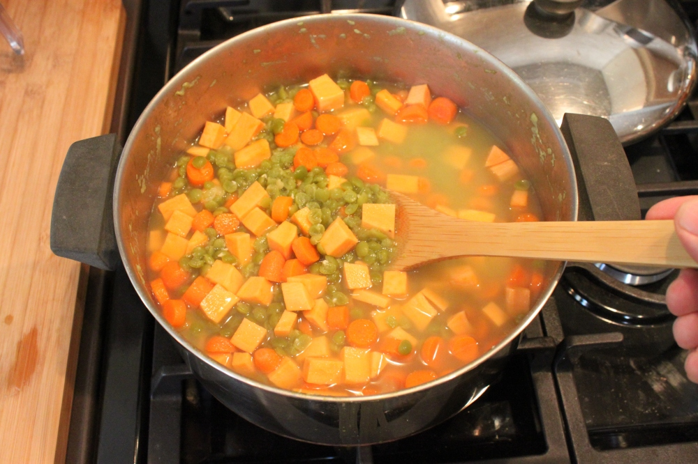 Add the Diced Vegetables to the Stock