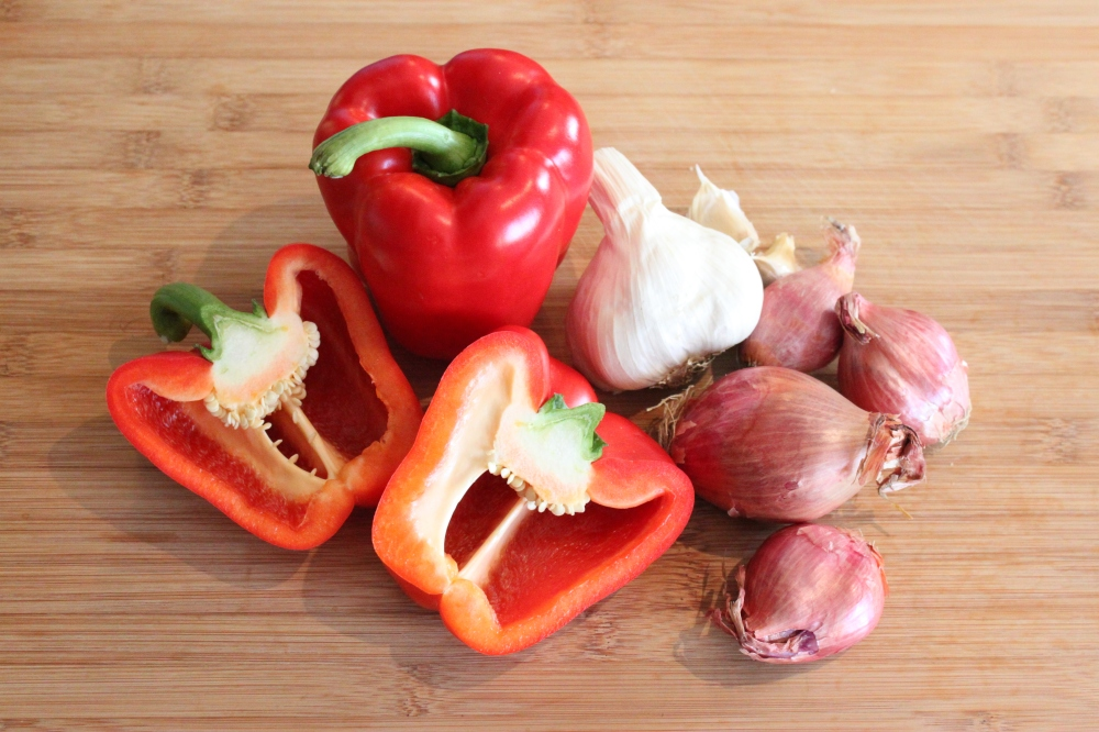 Red Bell Peppers, Garlic and Shallots