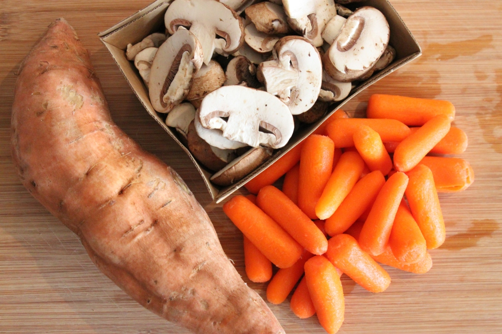 Sweet Potato, Baby Carrots and Sliced Baby Bella Mushrooms