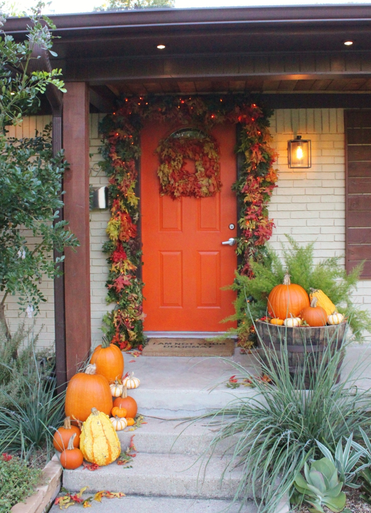 The Cavender Front Door with Fall Leaf Garland