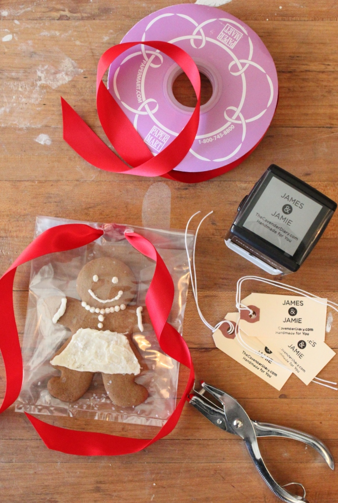 Ribbon and Bags on Finished Gingerbread Men
