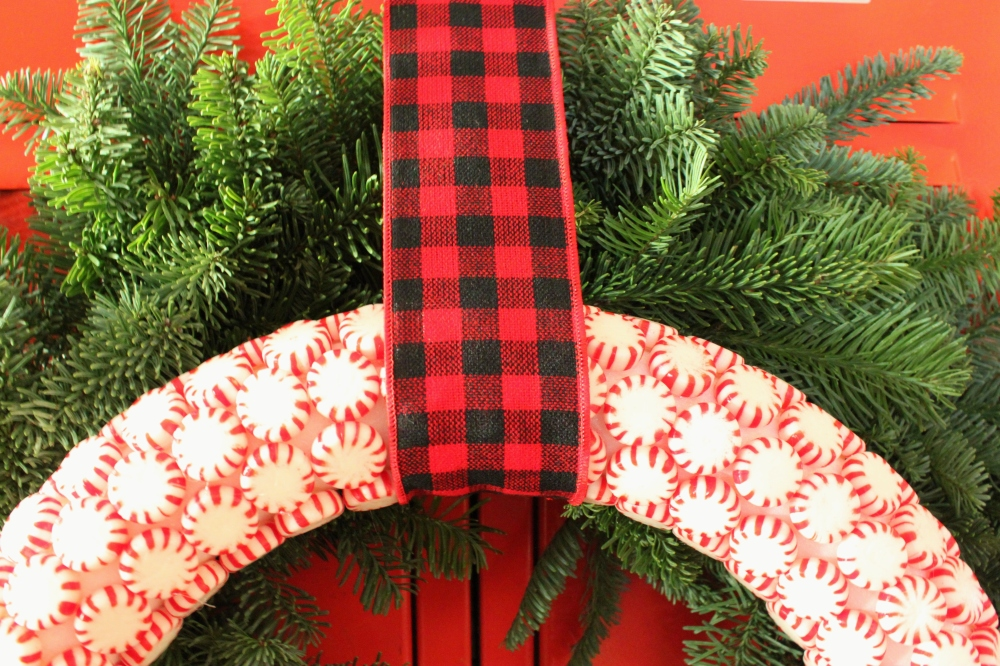 Close Up of Peppermint Candy Wreath on Lockers In Den