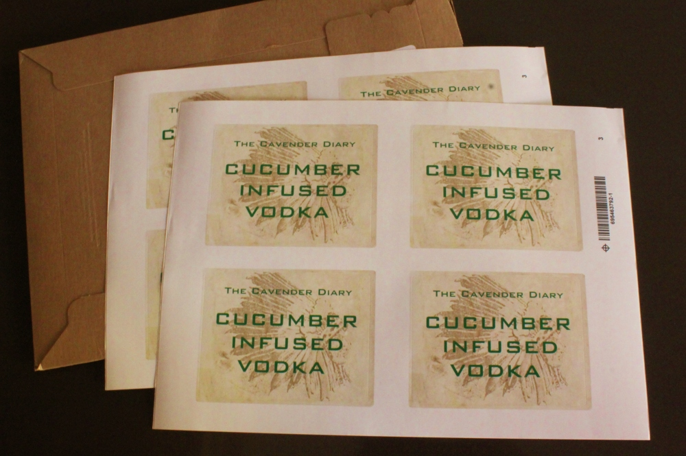 Cucumber Infused Vodka Labels from Vistaprint