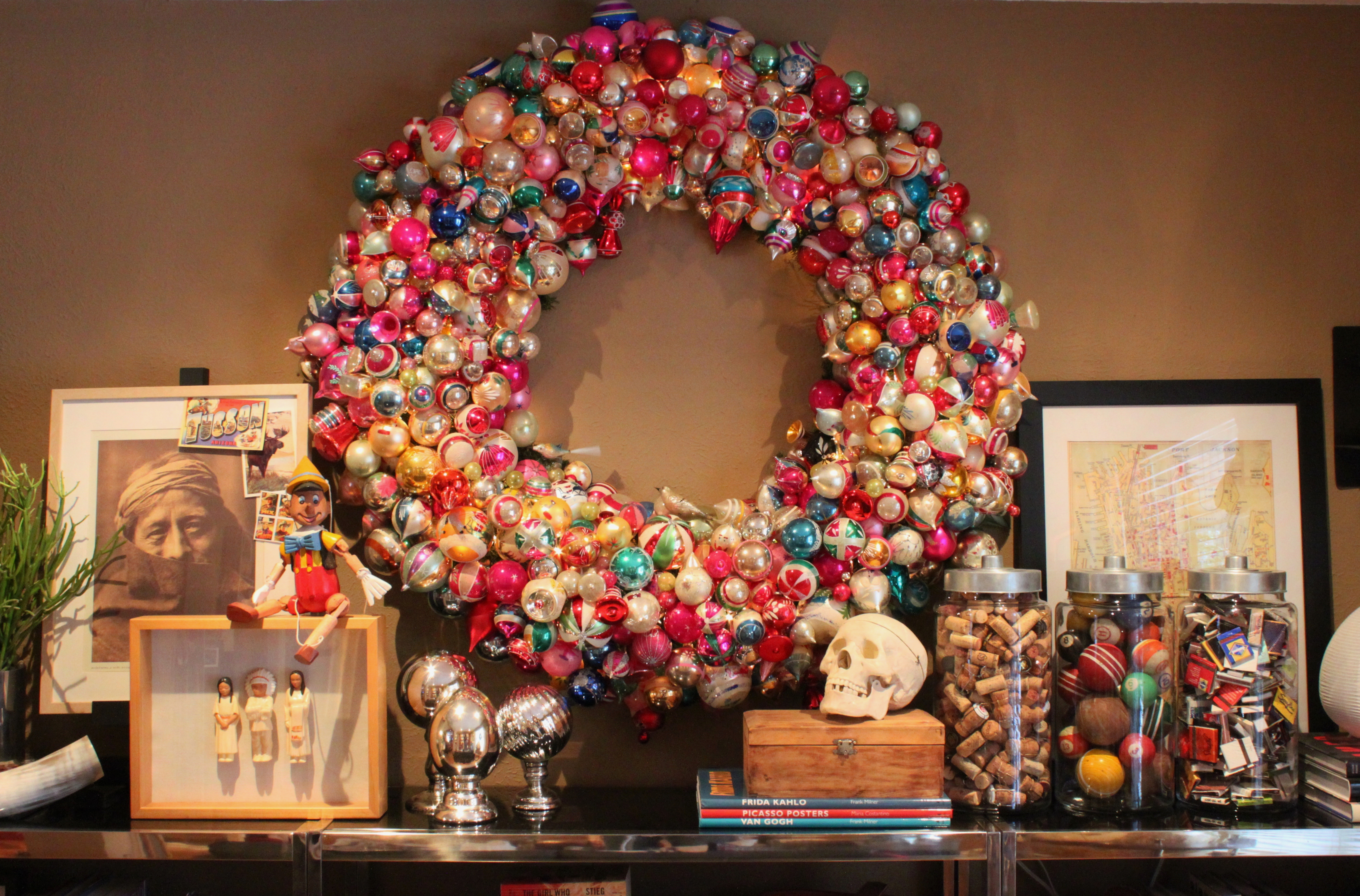 Finished Ornament Wreath In The Living Room 2013