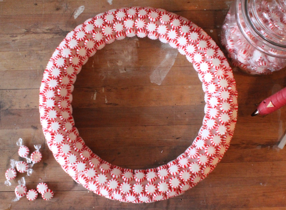 Finished Peppermint Candy Wreath