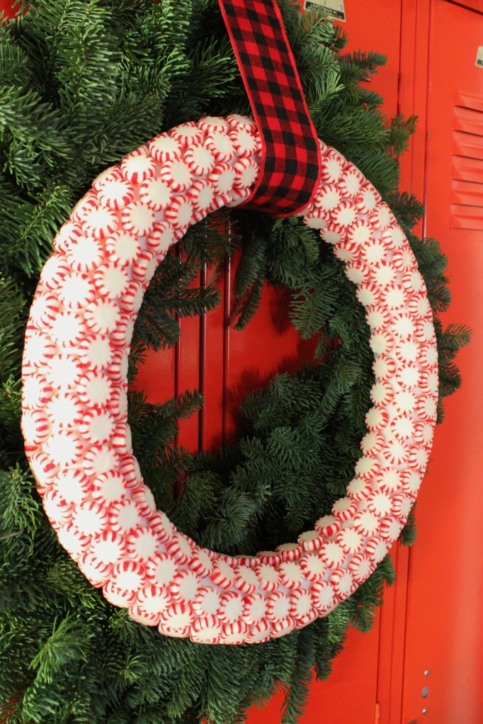 Peppermint Candy Wreath on Green Pine Wreath On Red Lockers