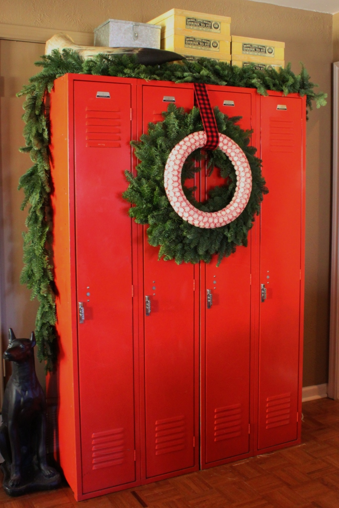 Peppermint Candy Wreath on Lockers in the Den