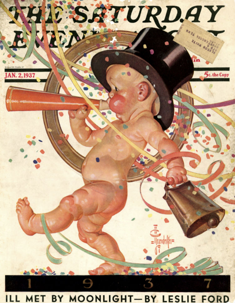 Saturday Evening Post Happy New Year Jan 1937
