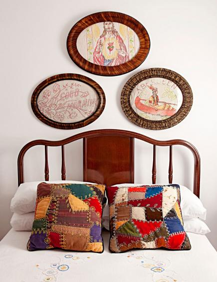 Crazy Quilt Pillows on a Camp Wandawega Bed