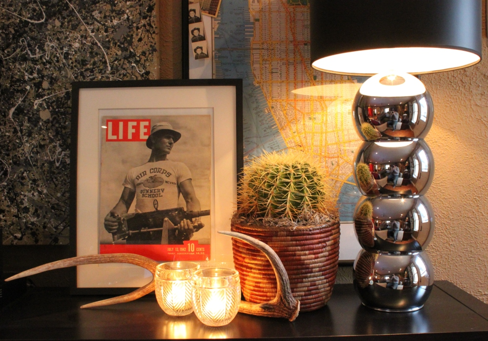 Vintage Life Magazine in Ikea Frame on Console