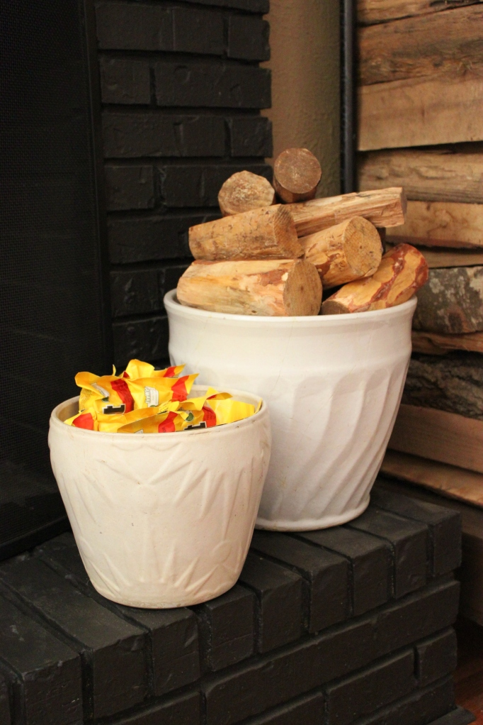 Vintage Pots used to Hold Firestarters and Pinon Wood on the Hearth