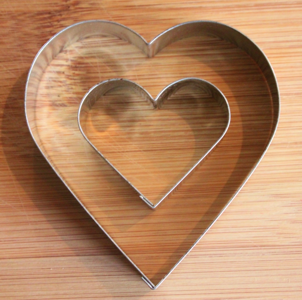 2 Sizes of Heart Shapped Cookie Cutters