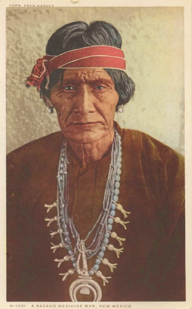 A Navajo Medicine Man Fred Harvey Postcard