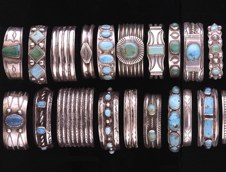 Cuffs and Bracelets in the Millicent Rogers Collection in Taos New Mexico