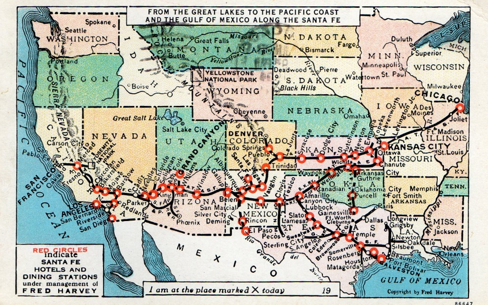 Fred Harvey Stop Locations on a Vintage Postcard