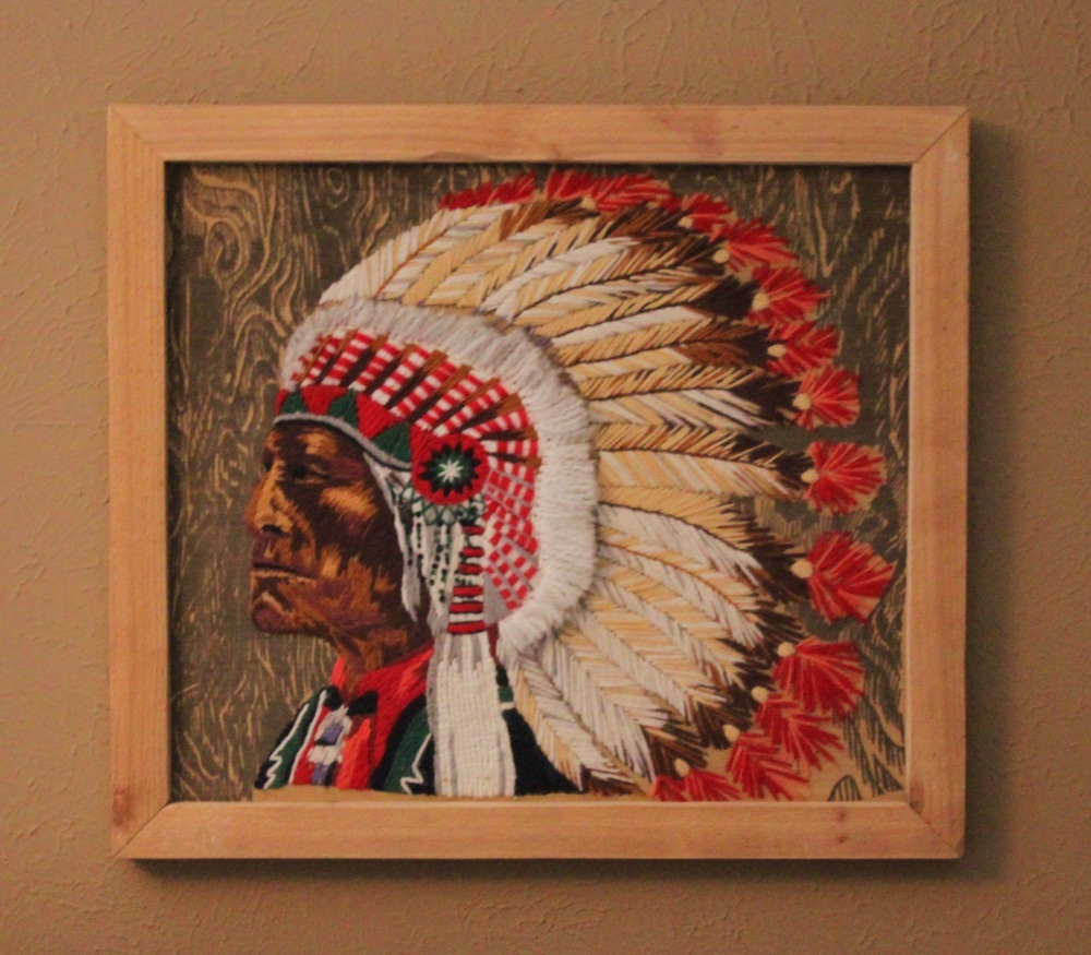 1970's Crewel Work Indian Chief in Cedar Frame