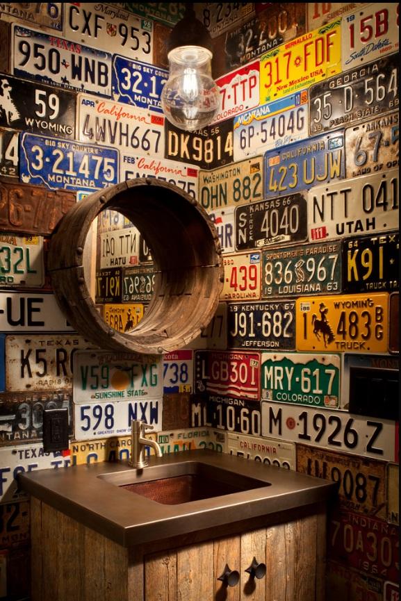 Bathroom Walls Plastered in License Plates