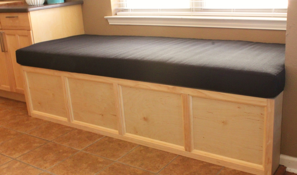 Black Linen Cushion on the Banquette in the Kitchen