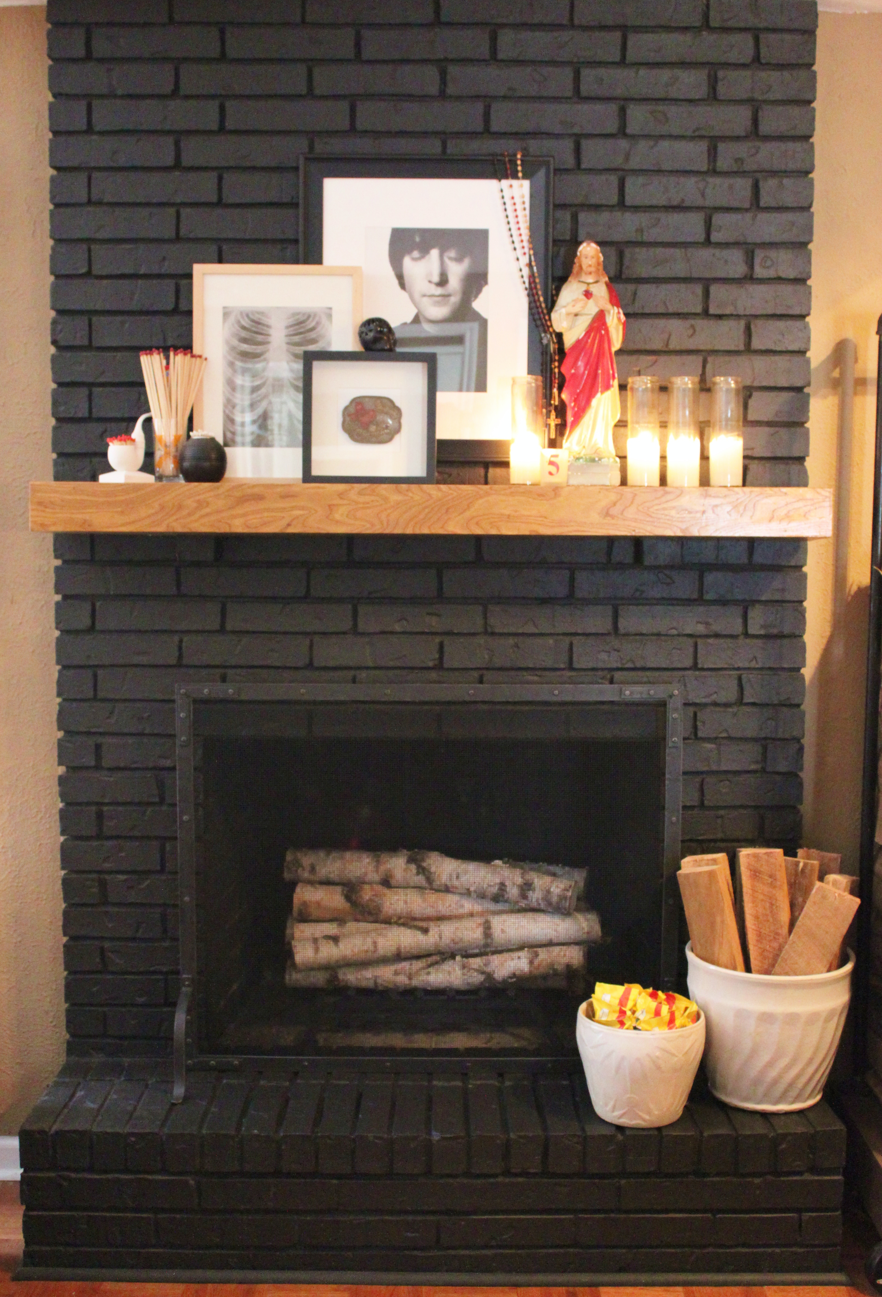 Black Painted Brick Fireplace Viewing Gallery