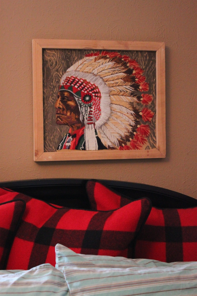 Crewel Work Indian Chief Over Guest Bed