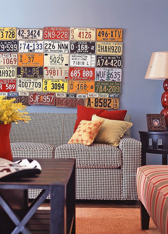 License Plate art in Traditional Living Room