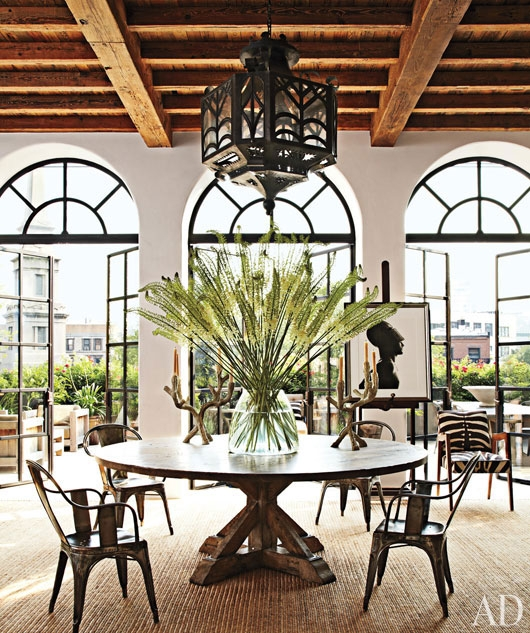 Dining Table with Vintage Pendant in Goldfarb/Paredes East Village Penthouse