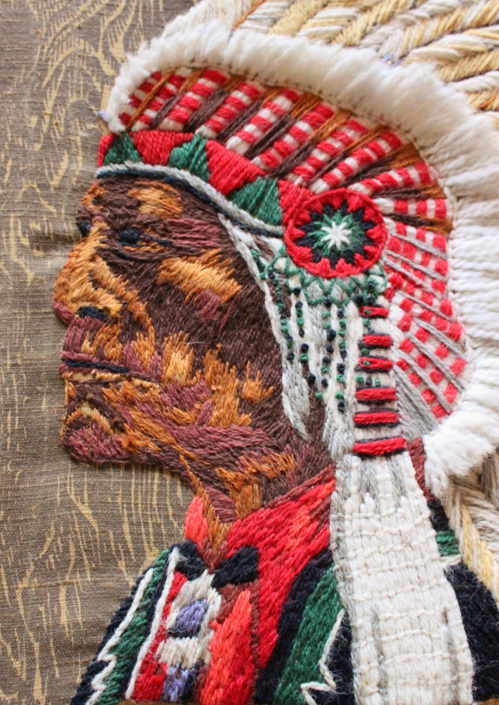 Crewel Work Indian Chief Close-Up on Face