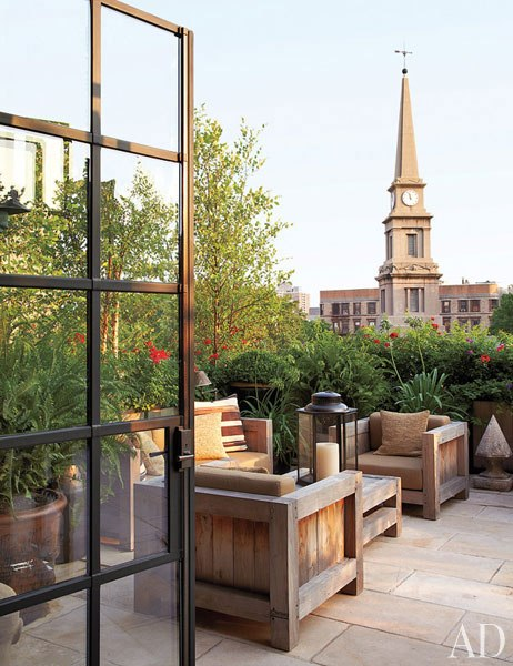 Seating on Patio at Goldfarb/Paredes East Village Penthouse