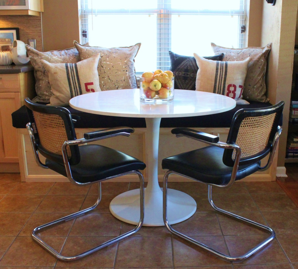 Kitchen Table, Chairs, and the New Banquette