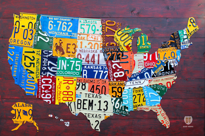License Plate USA Map Made by Design Turnpike