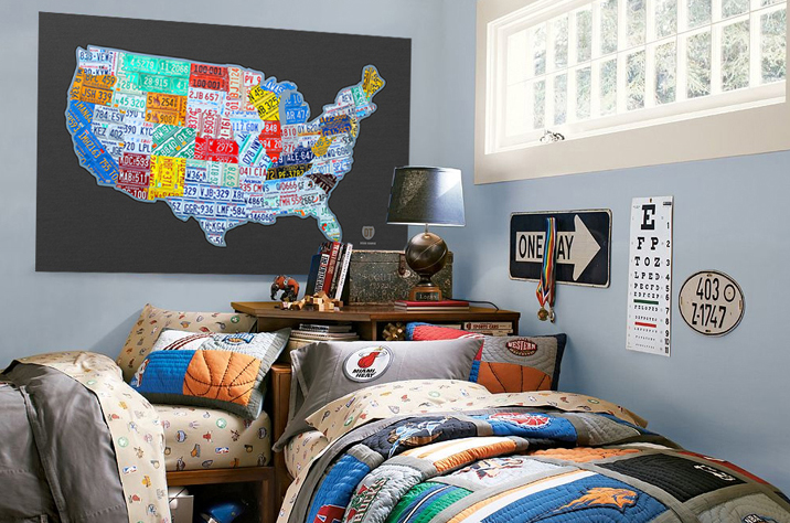 United States in License pLates on a Boy's Room Wall