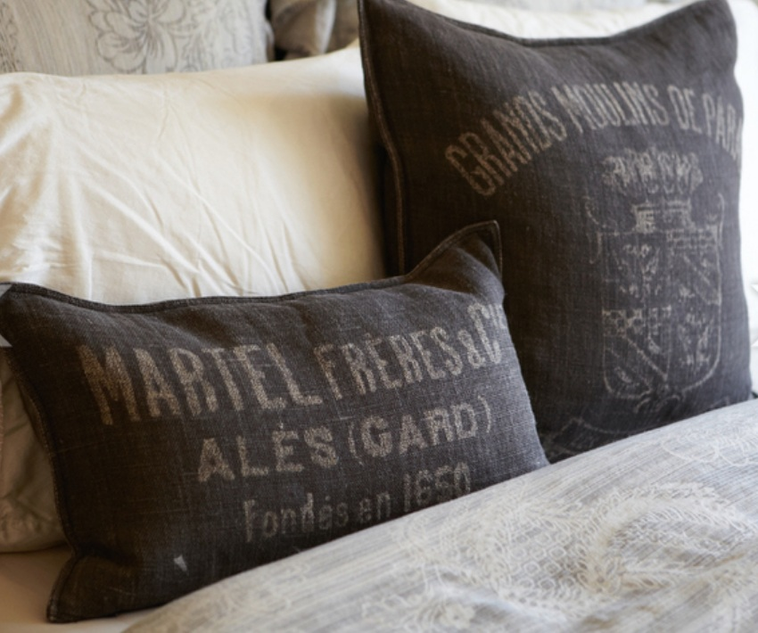 Linen Restoration Hardware Pillows on Mike Wolfe's Bed from Nashville Insider Magazine