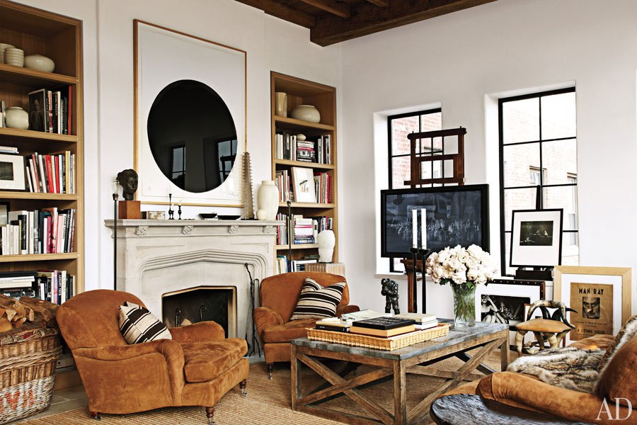 Living Room and Fireplace in Goldfarb/Paredes East Village Penthouse