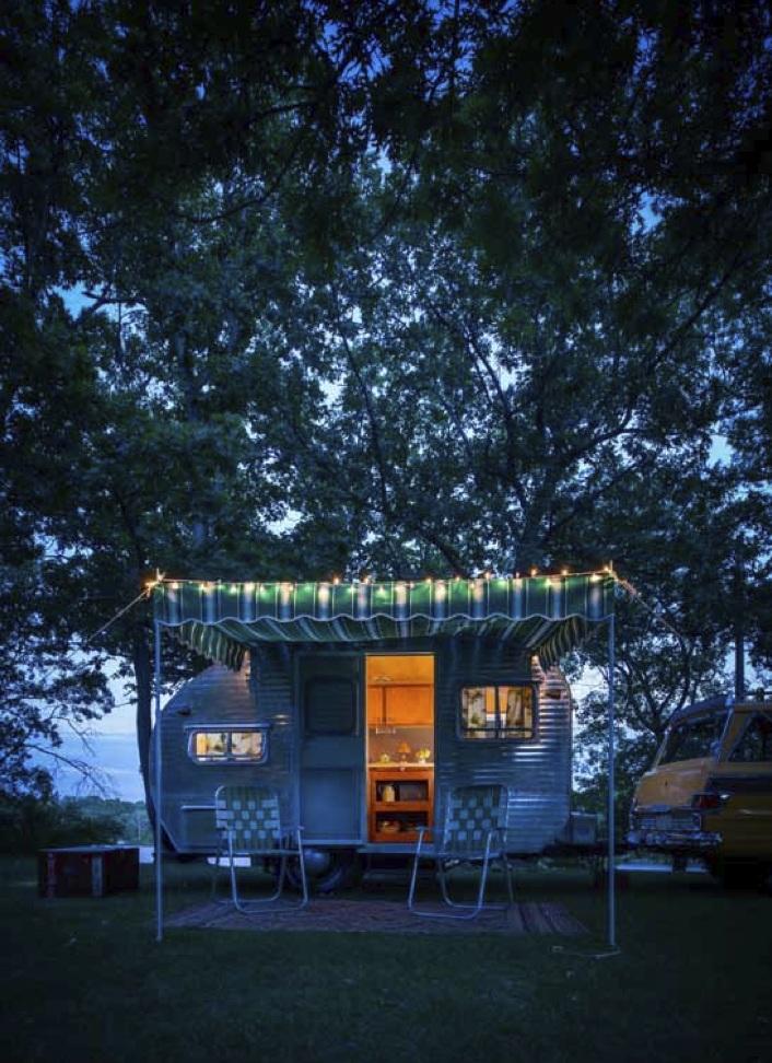 Camp Wandawega Camper at Night