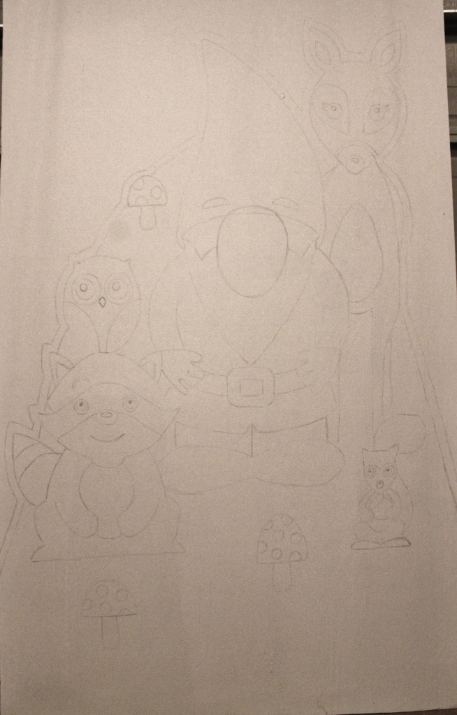 Sketched Gnome and Woodland Animals on the Primed Plywood