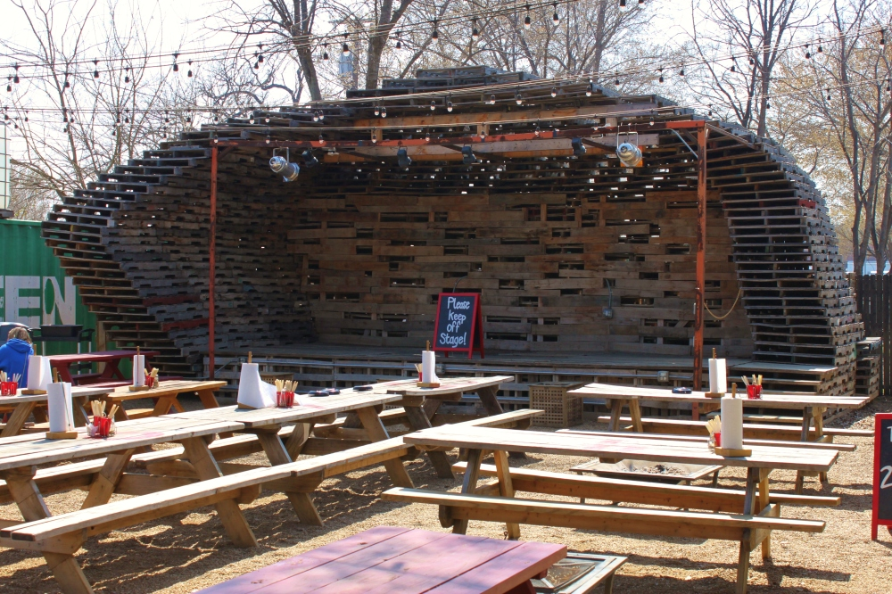 Stage Constructed of Shipping Pallets at the Foundry in Oak Cliff Dallas