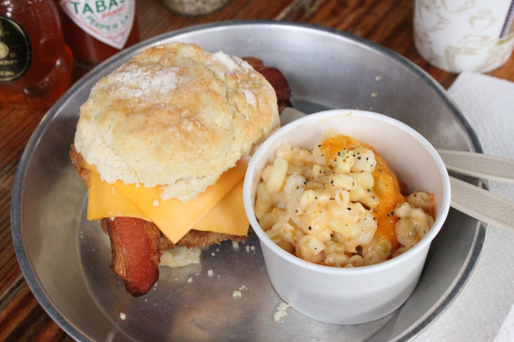 The Foundry Chicken Biscuit and Mac-N-Cheese with Hominy and Green Chilis at Chicken Scratch