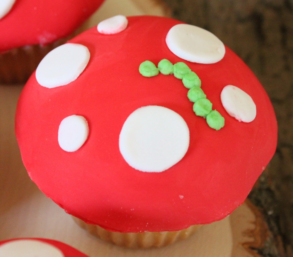 Close Up of the Mushroom Cup Cake with Catapillar