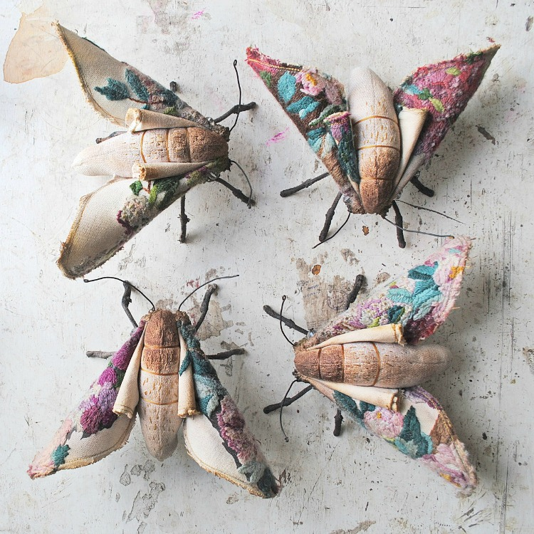 Embroidered Moths by Mister Finch
