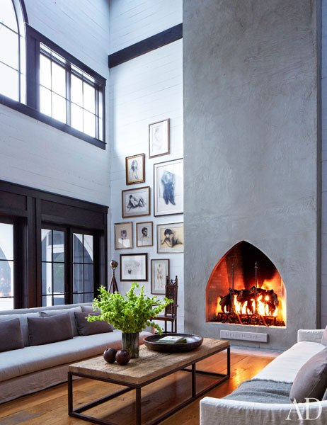 John Mellencamp's South Carolina House Fireplace in Living Area
