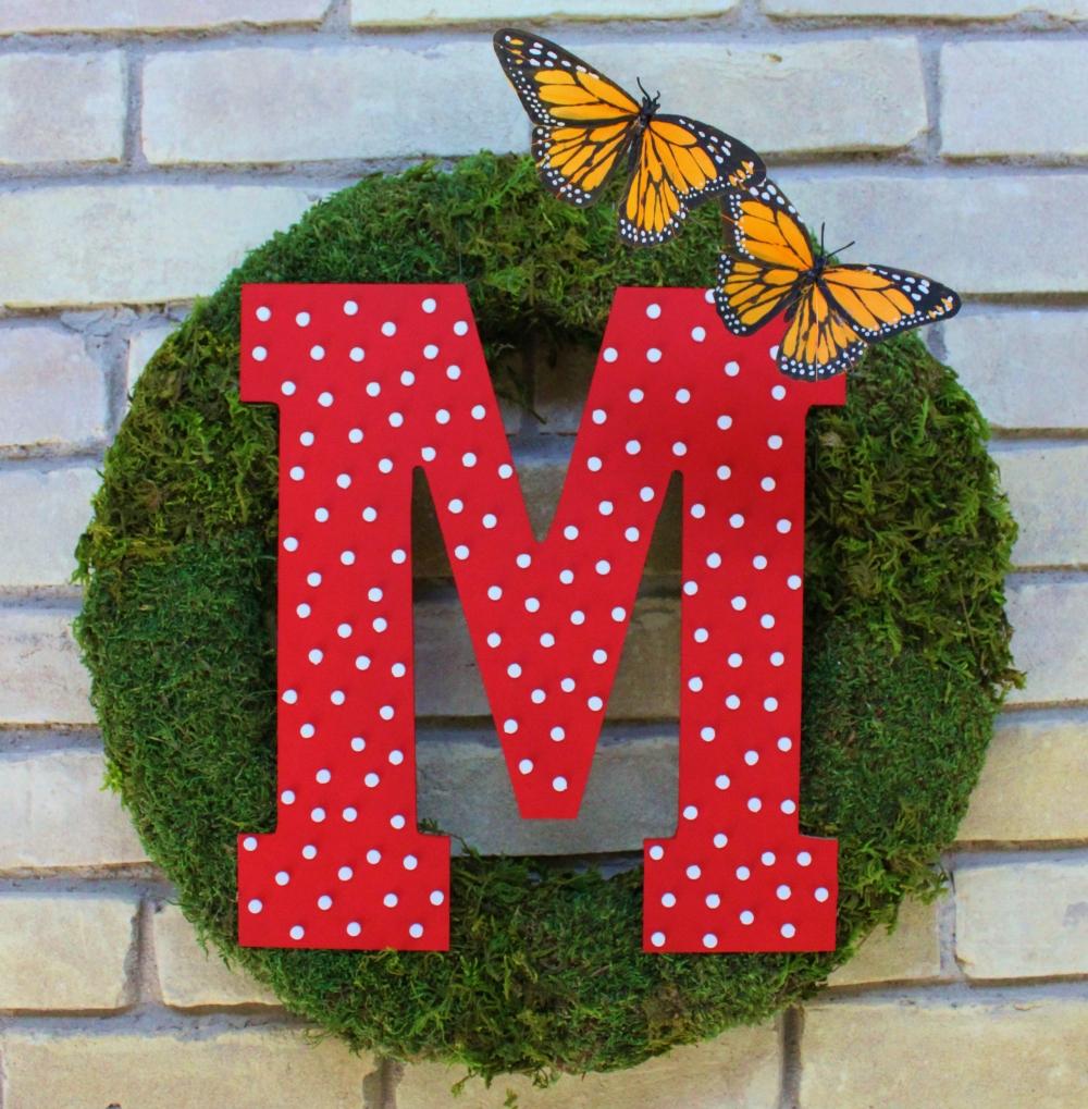 Monogram Moss Wreath with Butterflies