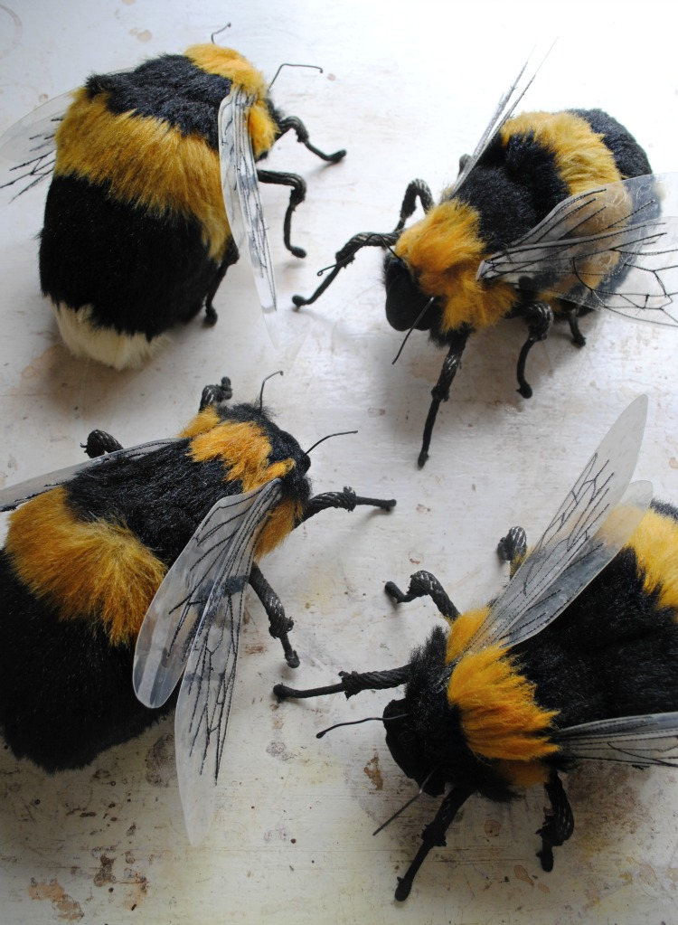 Textile Bees made from fake fur by Mister Finch