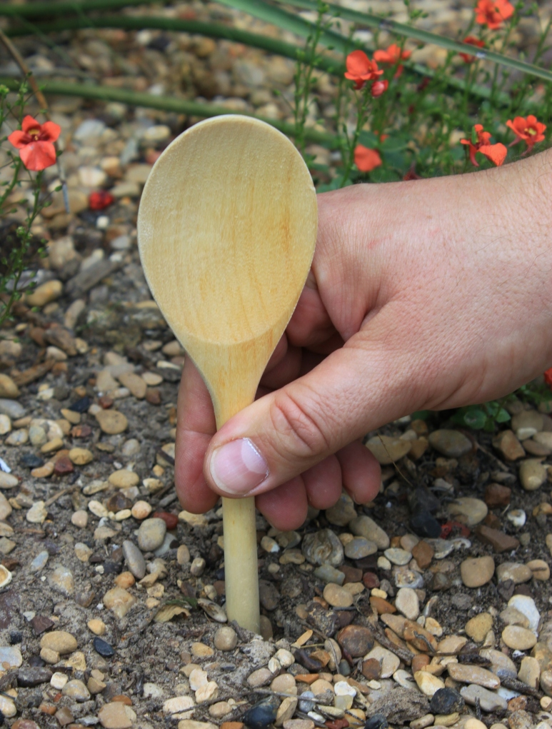 Use a Wooden Spoon to Poke Holes in the Ground